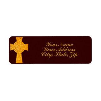 Celtic Cross 3 Gold Return Address Label