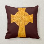 Celtic Cross 3 Gold Throw Pillow