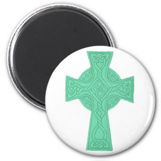 Celtic Cross 3 Green 2 Inch Round Magnet