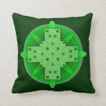 Celtic Cross 4 Green Throw Pillow