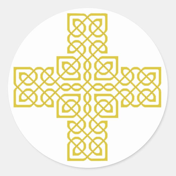 Celtic Cross 6 Gold Classic Round Sticker