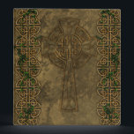 """Celtic Cross and Celtic Knots 3 Ring Binder<br><div class=""""desc"""">A Celtic Cross inlaid into a stone wall with two strips of Celtic Knots overgrown in green ivy.</div>"""