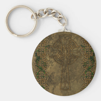 Celtic Cross and Celtic Knots Basic Round Button Keychain