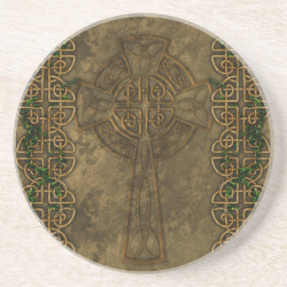 Celtic Cross and Celtic Knots Drink Coaster