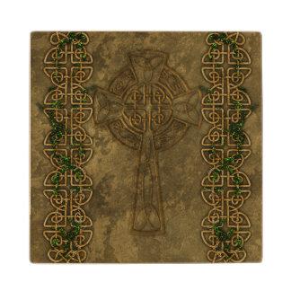 Celtic Cross and Celtic Knots Maple Wood Coaster