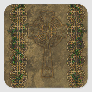 Celtic Cross and Celtic Knots Square Sticker