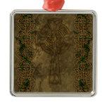 Celtic Cross and Cross Knots Metal Ornament