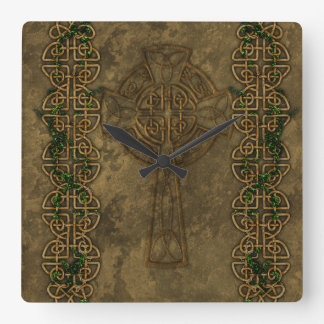 Celtic Cross and Cross Knots Square Wall Clock
