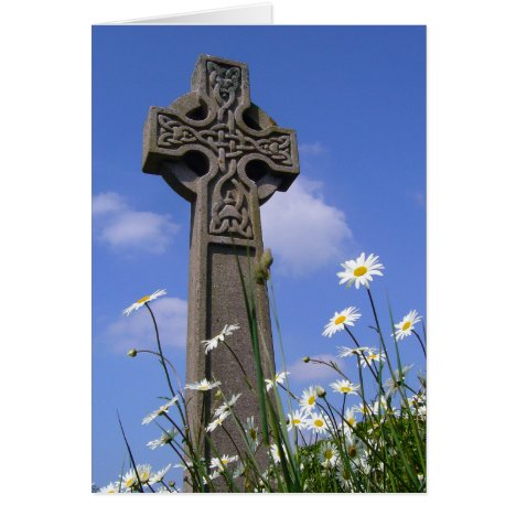 Celtic Cross and Daisies Easter Card