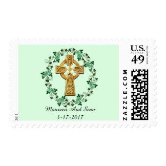 Celtic cross and Irish rose trellis stamp