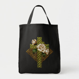 Celtic Cross and Roses Canvas Bag