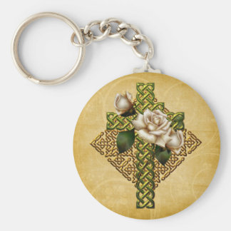 Celtic Cross and Roses Keychain