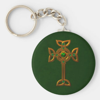 Celtic Cross Basic Round Button Keychain