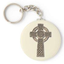 Celtic Cross Basic Round Button Keychain