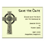 "Celtic Cross Black and Mythic Ivory 4.25"" X 5.5"" Invitation Card"