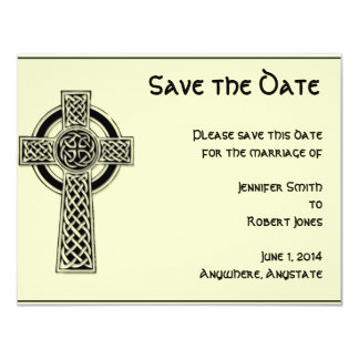 Celtic Cross Black and Mythic Ivory Save the Date Card
