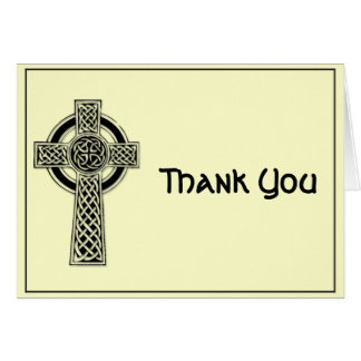 Celtic Cross Black and Mythic Ivory Thank You Card