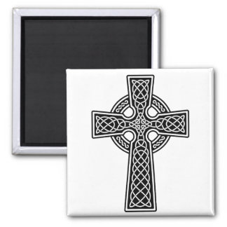 Celtic Cross black and white 2 Inch Square Magnet