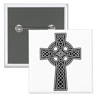 Celtic Cross black and white 2 Inch Square Button