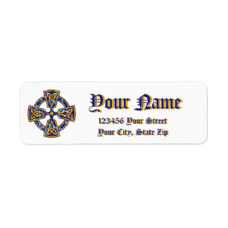 Celtic Cross Blue and Gold Label