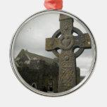 Celtic Cross, Cashel, Ireland Round Metal Christmas Ornament