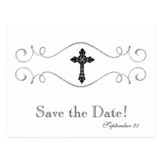 Celtic Cross Christian Save the Date Postcard
