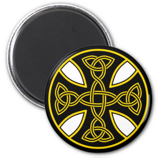 Celtic Cross Double Weave Black 2 Inch Round Magnet