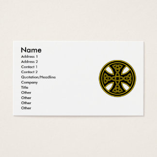 Celtic Cross Double Weave Black Business Card