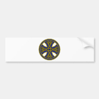 Celtic Cross Double Weave Blue Bumper Sticker