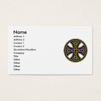 Celtic Cross Double Weave Blue Business Card