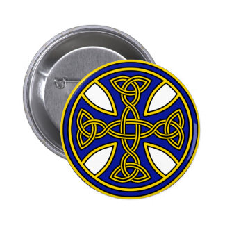 Celtic Cross Double Weave Blue 2 Inch Round Button