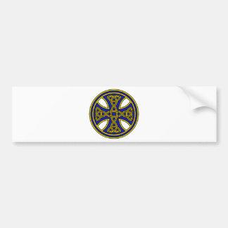 Celtic Cross Double Weave Blue Car Bumper Sticker