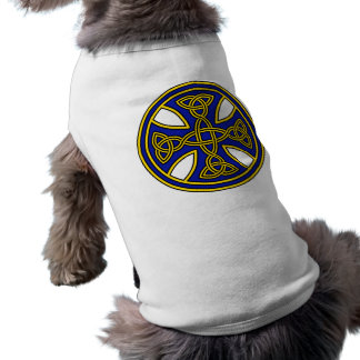 Celtic Cross Double Weave Blue Dog T Shirt