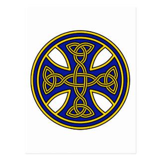 Celtic Cross Double Weave Blue Post Cards