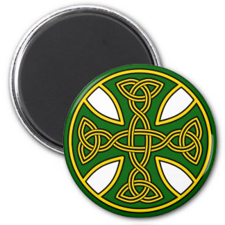 Celtic Cross Double Weave Green 2 Inch Round Magnet
