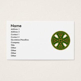 Celtic Cross Double Weave Green Business Card