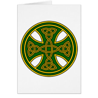 Celtic Cross Double Weave Green Greeting Card