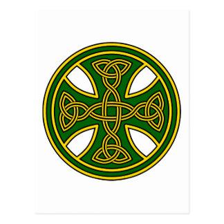Celtic Cross Double Weave Green Postcard