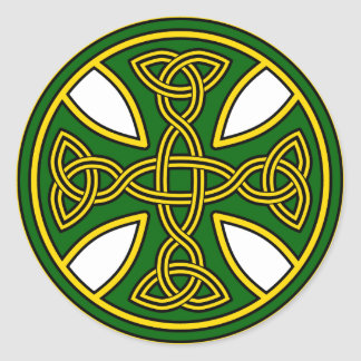 Celtic Cross Double Weave Green Classic Round Sticker