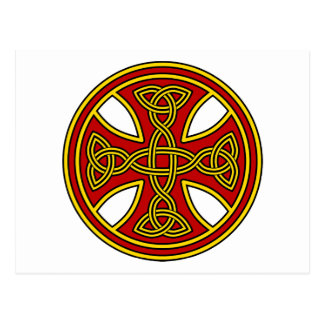 Celtic Cross Double Weave Red Postcard