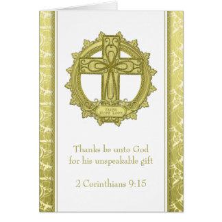 Celtic Cross Faith Hope Love Gold White Christmas Card