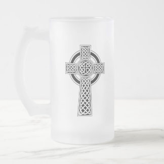 Celtic Cross Frosted Glass Mug