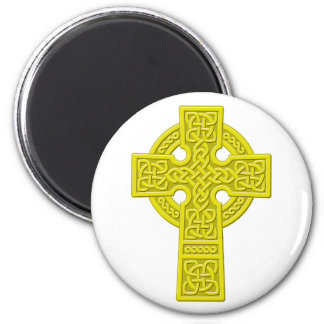 Celtic Cross gold 2 Inch Round Magnet
