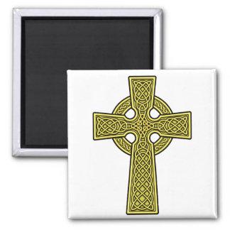Celtic Cross gold 2 Inch Square Magnet