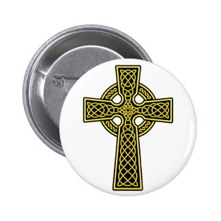Celtic Cross gold and black Pinback Button