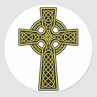 Celtic Cross gold and black Round Stickers