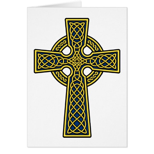 Celtic Cross gold and blue Card