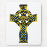 Celtic Cross gold and blue Mouse Pad