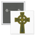 Celtic Cross gold and blue Pin