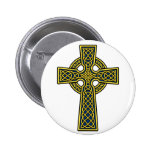 Celtic Cross gold and blue Pinback Buttons